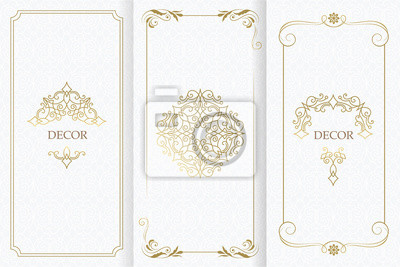 Fototapeta Ornate decor, border for invitation, card. Flourishes ornaments cards.