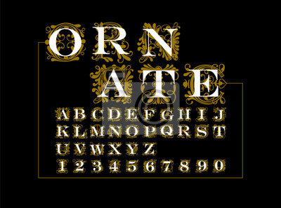 Fototapeta ornate gold vector set of letters in the old vintage style.