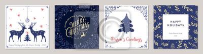 Fototapeta Ornate Merry Christmas greeting cards. Trendy square Winter Holidays art templates.