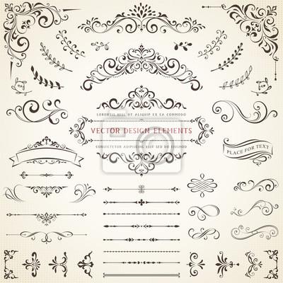 Fototapeta Ornate vintage design elements with calligraphy swirls, swashes, ornate motifs and scrolls. Vector illustration.