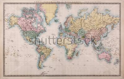 Fototapeta Oryginalna, stara, ręcznie rysowana kolorowa mapa świata na projekt Mercatory z 1860 r. Kraje te były nazwane tak jak wtedy, tj. Persja, Arabia itd., Kilka plam, zgodnie z oczekiwaniami dla map