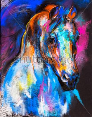Fototapeta Oryginalny pastelowy obraz konia na tekturze. Sztuka współczesna.