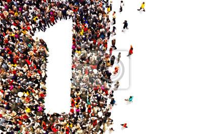 Fototapeta Osoby, które są zwycięzcami, liderów, czy pojęcie sukcesu. Ludzie w kształcie numer jeden na białym tle.