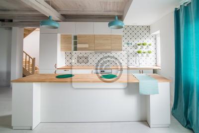 Otwarta Jasna Kuchnia Z Białymi Meblami Wyspa Kuchnia Fototapety Redro