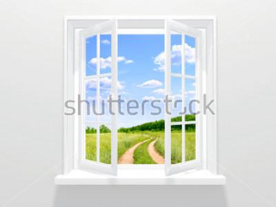 Fototapeta Otwarte okno i stara droga