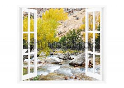 Fototapeta Otwarte okno z piękną przyrodą na tle