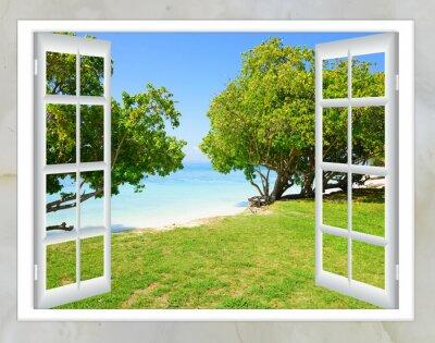 Fototapeta otwarte okno z widokiem na morze dobrej pogodzie latem