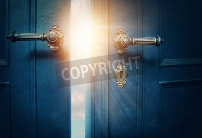 Fototapeta Otwieraj niebieskie drzwi i słońce