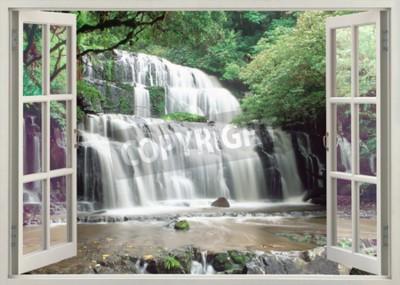 Fototapeta Otwórz okno widok na słynne Purakaunui Falls