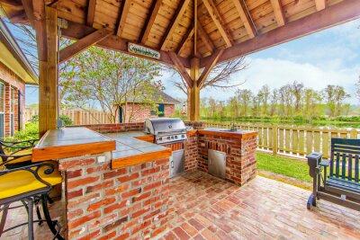 Fototapeta Outdoor Kitchen and Deck