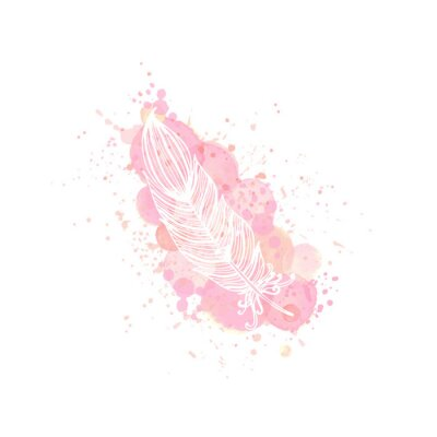 outline feather on watercolor pink effect background. Nude rose brush strokes, drop and splash with doodle feather contour. Design for invitation, card, sale, fashion, wedding. Vector illustration