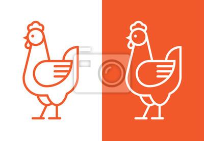 Fototapeta Outline hen icon. Chicken linear logo.