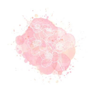 outline Jasmine flower on watercolor effect background. Nude rose brush strokes, drop and splash with floral contour. Design for invitation, card, sale, fashion, wedding. Vector illustration