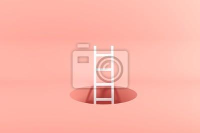 Fototapeta Outstanding white ladder standing inside hole on pink background. Minimal conceptual idea concept. 3D Render.