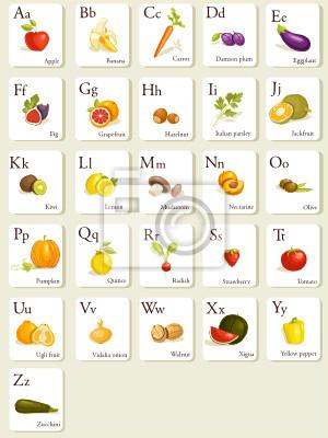 fototapeta owoce i warzywa alfabet kart ilustracji na wymiar ty projekt adny. Black Bedroom Furniture Sets. Home Design Ideas