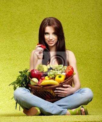 Fototapeta owoce i warzywa na zakupy
