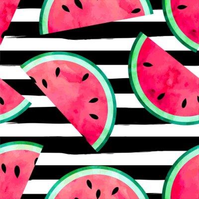Fototapeta Owocowy szwu deseń z akwarelowy farby teksturowane kawałki arbuza. Rozłożony tła.