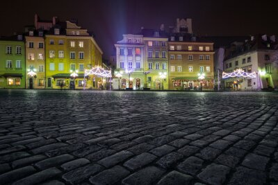Fototapeta Ozdoby choinkowe na starego miasta Warszawy w nocy