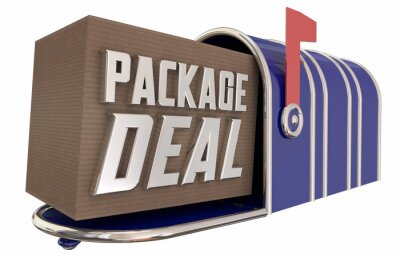 Fototapeta Package Deal Offer Savings Box Mailbox Delivery 3d Illustration