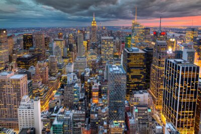 Fototapeta Paesaggio urbano di New York con grattacieli