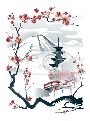 Fototapeta Pagoda and red bridge under the mountain framed by sakura branches. Vector drawing in traditional japanese style sumi-e.