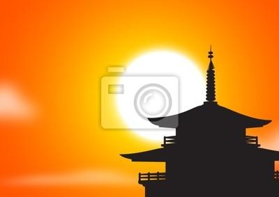 Fototapeta pagoda sunset silhoutte