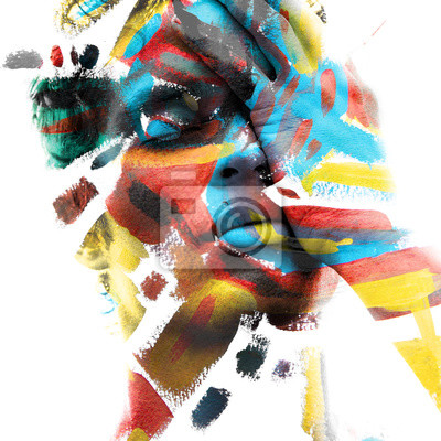 Fototapeta Paintography. Double exposure of an attractive male model with closed eyes and hand covering face combined with colorful hand drawn paintings