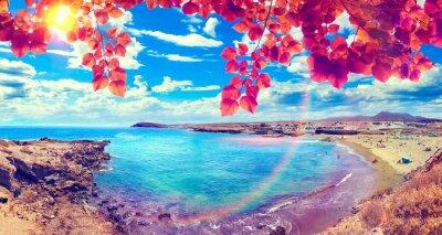 Fototapeta Paisaje pintoresco de Playas de Canarias.Tenerife.Paisaje de atardecer y vegetación.Concepto Podróży y vacaciones por la Costa