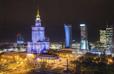 Fototapeta Pałac Kultury i Nauki w Warszawie w nocy