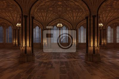 Fototapeta Pałac sala balowa z świeczkami zaświeca pokoju i ampuły łękowatego okno, 3d odpłacają się.