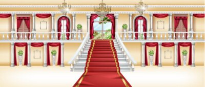 Fototapeta Palace interior, vector castle room background, royal ballroom, arch window, red carpet, marble column. Luxury hotel hall, white staircase balustrade, golden chandelier. Rich vintage palace interior