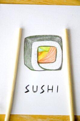Fototapeta pałeczki na sushi rysunku