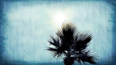 Fototapeta Palma streszczenie niebieskim tle grunge