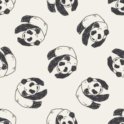 Fototapeta Panda doodle bez szwu wzór tła