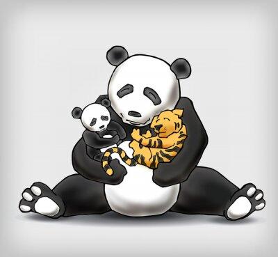 Fototapeta Panda siedzi z dzieckiem i małe dziecko tygrysa ilustracji