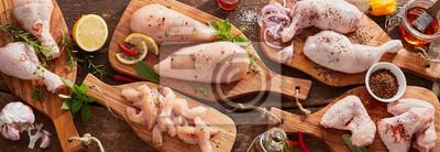 Fototapeta Panorama banner of raw chicken portions