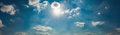 panorama blue sky with sun and white cloud