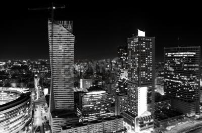 Fototapeta Panorama centrum Warszawy w nocy