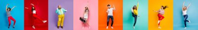 Fototapeta Panorama collage eight cool funny attractive active modern people six ladies two guys men good mood dance discotheque party isolated many colors blue violet teal orange yellow pink red background