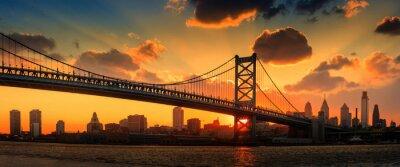 Fototapeta Panorama Filadelfii panoramę, Ben Franklin Bridge i Penna
