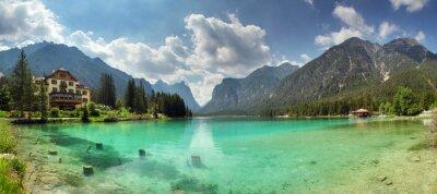 Fototapeta Panorama of Lake dobbiaco, Dolomites mountain