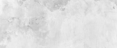 Fototapeta Panorama of Old cement wall painted white, peeling paint texture and background