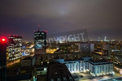 Fototapeta Panorama of Warsaw by night