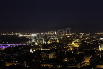 Fototapeta Panorama of Warsaw old town at night. Aerial view.