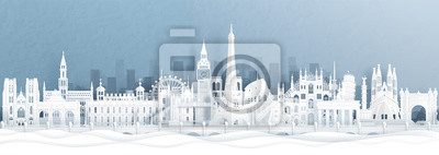 Fototapeta Panorama postcard and travel poster of world famous landmarks of europe, Holland, France, Germany, Belgium, Spain and England in paper cut style vector illustration