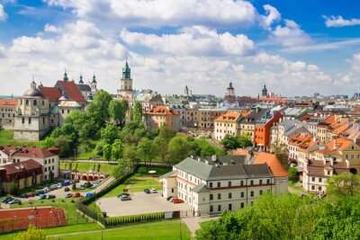 Fototapeta Panorama starego miasta w mieście Lublin, Polska