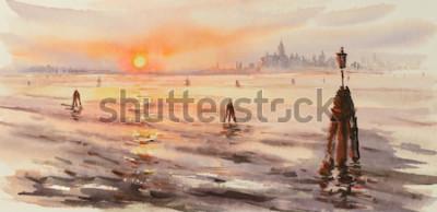 Fototapeta Panorama Venice Laguna przy zmierzchem. Obraz stworzony za pomocą akwareli.