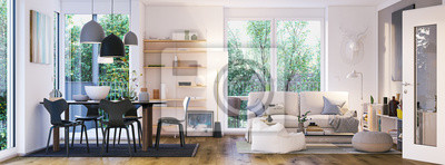 Fototapeta panorama view inside modern european apartment