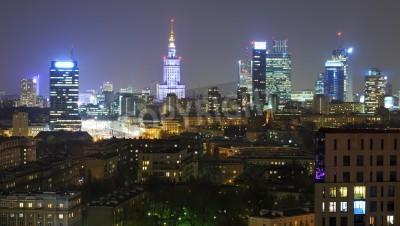 Fototapeta Panorama Warszawy nocą
