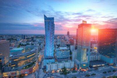Fototapeta Panorama Warszawy o zachodzie słońca